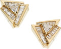 Estate Jewelry:Earrings, Diamond, Gold Earrings. . ... (Total: 2 Items)