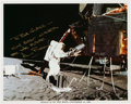 Autographs:Celebrities, Alan Bean Signed Lunar Surface Color Photo. ...
