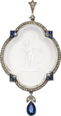 Estate Jewelry:Pendants and Lockets, Rock Crystal Quartz, Diamond, Sapphire, Platinum, White GoldPendant-Brooch. . ...