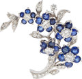 Estate Jewelry:Brooches - Pins, Diamond, Sapphire, White Gold Brooch. ...