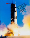 Autographs:Celebrities, Fred Haise Signed Large Apollo 13 Launch Color Photo....