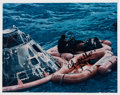 Autographs:Celebrities, Edgar Mitchell Signed Apollo 14 Recovery Color Photo. ...