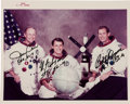 "Autographs:Celebrities, Skylab III (SL-4) Crew-Signed Original NASA ""Red Number"" WhiteSpacesuit Color Photo. ..."