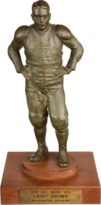"""1972 Bert Bell """"NFL Player of the Year"""" Award Presented to Larry Brown"""