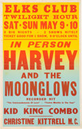 Music Memorabilia:Posters, Marvin Gaye/Harvey And The Moonglows Elks Club Concert Poster (1959). Rare....