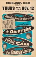 Music Memorabilia:Posters, Drifters Highlands Club Concert Poster (1960)....