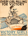 "Movie Posters:War, World War I Propaganda (United War Work Campaign, 1918). VictoryGirls Poster (21.5"" X 27.25"") ""Every Girl Pulling for Victo..."