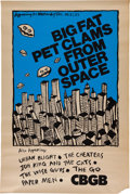 Music Memorabilia:Posters, CBGB Big Fat Clams From Outer Space Concert Poster (1980)....