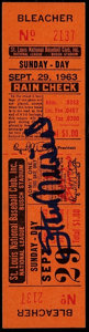 """Baseball Collectibles:Tickets, 1963 Stan Musial Signed """"Last Game"""" Full Ticket...."""