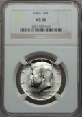 Kennedy Half Dollars, 1965 50C MS66 NGC. NGC Census: (164/7). PCGS Population: (164/18).Mintage 65,879,368. ...