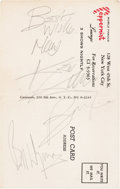 Music Memorabilia:Autographs and Signed Items, Rolling Stones - Keith Richards, Brian Jones, and Bill Wyman SignedPostcard (1960s)....