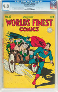 Golden Age (1938-1955):Superhero, World's Finest Comics #17 (DC, 1945) CGC VF/NM 9.0 Off-white to white pages....