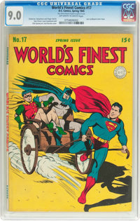 World's Finest Comics #17 (DC, 1945) CGC VF/NM 9.0 Off-white to white pages