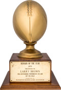 Football Collectibles:Others, 1970 Redskin of the Year Trophy Presented by the Redskin Alumni Association to Larry Brown....