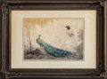 Fine Art - Work on Paper:Print, Jean Hardy (French, b. 1880). Lady with Peacock, circa1920s. Etching and aquatint with hand coloring. 15-1/2 x 21-1/4i...