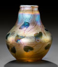 Art Glass:Tiffany , Tiffany Studios Gold Favrile Glass Millefiori Vase . Circa1908. Engraved L.C.Tiffany-Favrile, 565 C. Ht. 3-...