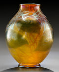 Art Glass:Tiffany , Tiffany Studios Gold Favrile Glass Foliate Vase . The leaves aredecorated with a Cypriote texture.. Circa 1...