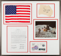 """Apollo 15 Lunar Module Flown Large American Flag and Crew-Signed """"Sieger"""" Cover #24 in Framed Display with a N..."""