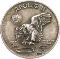 Apollo 11 Flown Silver Robbins Medallion, Serial Number 64, Originally from the Personal Collection of Mission Command M...
