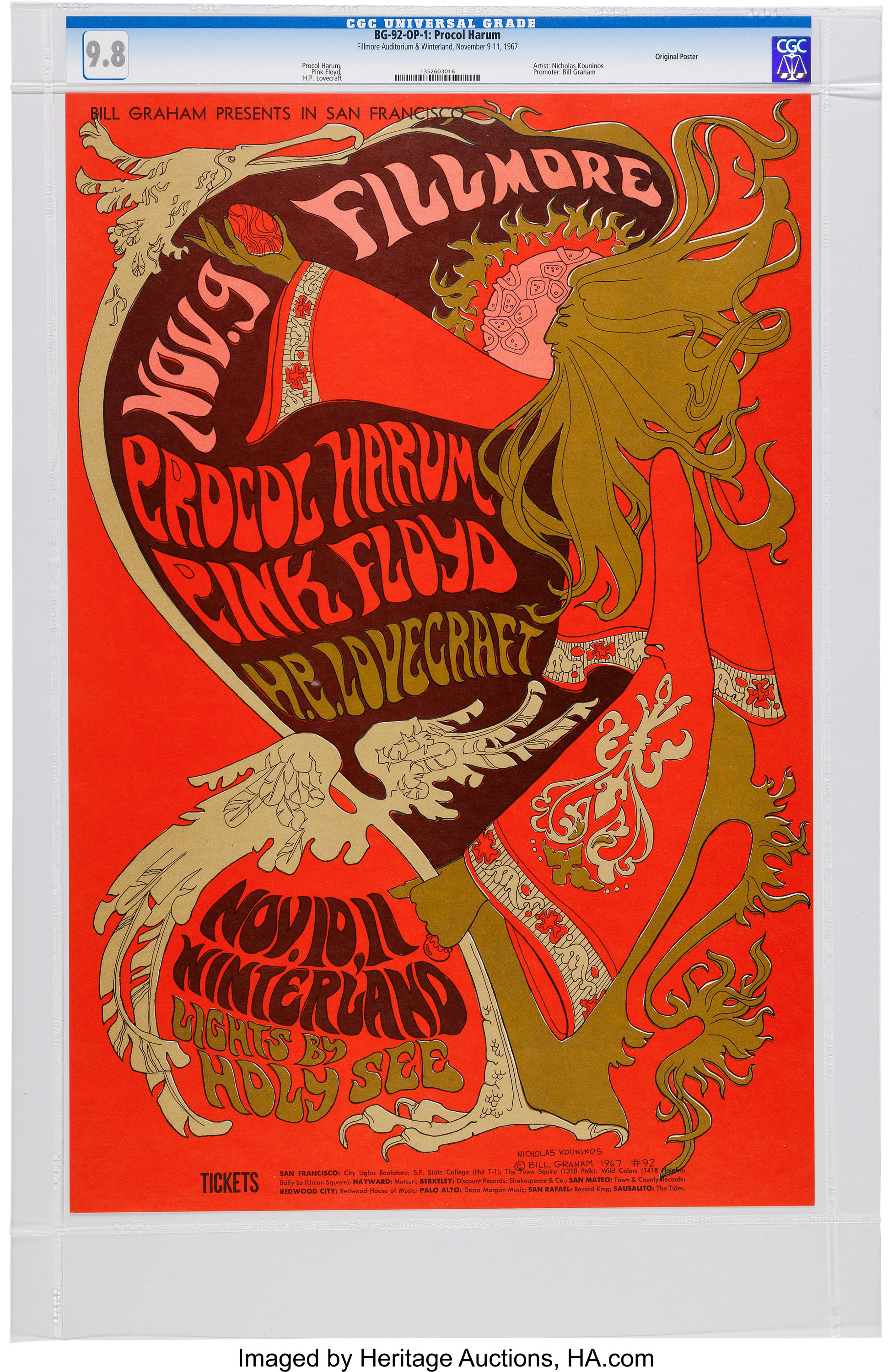 the sale of shoes authentic quality many fashionable Pink Floyd Fillmore/Winterland Concert Poster BG-92 CGC 9.8 ...