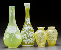 Four English Yellow Cameo Glass Floral Vases Circa 1885. Ht. 12-1/4 in. (tallest)