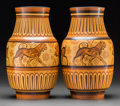 Ceramics & Porcelain, Continental:Modern  (1900 1949)  , Pair of Charles Catteau for Boch Freres Keramis Glazed Stoneware Lion et Sanglier Vases. Circa 1930. Stamped BOC... (Total: 2 Items)