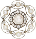 Estate Jewelry:Brooches - Pins, Antique Natural Pearl, Diamond, Platinum-Topped Gold Brooch. ...
