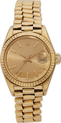 Estate Jewelry:Watches, Rolex Lady's Gold President Watch, circa 1980. ...