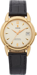 Estate Jewelry:Watches, Concord Gentleman's Gold Automatic Chronometer, Leather StrapWatch. ...