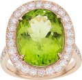 Estate Jewelry:Rings, Peridot, Diamond, Pink Gold Ring. ...