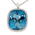 Estate Jewelry:Pendants and Lockets, Blue Topaz, Diamond, Gold Pendant-Necklace. ...