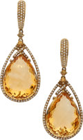 Estate Jewelry:Earrings, Citrine, Diamond, Topaz, Gold Earrings. ... (Total: 2 Items)
