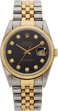 Estate Jewelry:Watches, Rolex Gentleman's Diamond, Gold, Stainless Steel Oyster PerpetualDatejust Watch. ...