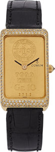 Estate Jewelry:Watches, Corum Lady's Diamond, Gold Ingot, Leather Strap Watch. ...