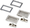 Estate Jewelry:Cufflinks, Diamond, Sapphire, White Gold Cuff Links. ... (Total: 4 Items)