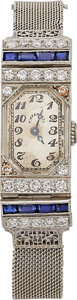 Estate Jewelry:Watches, Art Deco Lady's Diamond, Synthetic Sapphire, Platinum Watch,Tiffany & Co.. ...