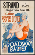 """Movie Posters:Musical, Broadway Babies (First National, 1929). Window Card (14"""" X 22""""). Musical.. ..."""