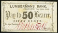 Obsoletes By State:New Hampshire, Oldtown, ME- N(Nathaniel) H. Hartwell at Lumbermans' Bank 50¢ Oct. 28, 1862. ...