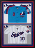 Baseball Collectibles:Others, 2000's Gary Carter & Andre Dawson Signed Jersey Display from The Gary Carter Collection....