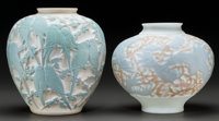 Two Phoenix and Consolidated Glass Co. Painted Glass Vases 20th century. Ht. 10-1/2 in. (larger) ... (Total: 2 Items)