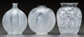 Art Glass:Lalique, Three R. Lalique and Lalique Clear and Frosted Vases. Palmes& Malines.. Circa 1923 & Post 1945. Molded R.LALIQUE, ... (Total: 3 Items)