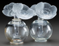 Art Glass:Lalique, Pair of Lalique Clear and Frosted Glass Anemone Perfumeswith Black Enamel. Post-1945. Engraved Lalique, Franc... (Total:2 Items)