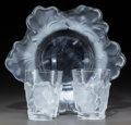Art Glass:Lalique, Lalique Clear and Frosted Glass Honfleur Bowl and TwoChenes Tumblers. Post-1945. Engraved Lalique... (Total: 3Items)