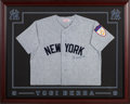 Baseball Collectibles:Uniforms, 1990's Yogi Berra Signed New York Yankees Jersey from The GaryCarter Collection....