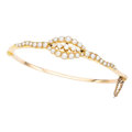 Estate Jewelry:Bracelets, Diamond, Half-Pearl, Gold Bracelet. ...