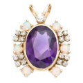 Estate Jewelry:Pendants and Lockets, Amethyst, Diamond, Opal, Gold Pendant. ...