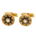 Estate Jewelry:Cufflinks, Diamond, Enamel, Gold Cuff Links. ... (Total: 2 Items)