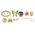 Estate Jewelry:Brooches - Pins, Diamond, Peridot, Freshwater Cultured Pearl, Seed Pearl, Enamel,Gold Brooches. ... (Total: 10 Items)