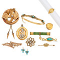 Estate Jewelry:Lots, Victorian Diamond, Multi-Stone, Freshwater Pearl, Seed Pearl, Gold Jewelry. ... (Total: 11 Items)