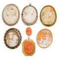 Estate Jewelry:Cameos, Shell Cameo, Coral Cameo, Seed Pearl, Gold, Base Metal Jewelry. ...(Total: 7 Items)